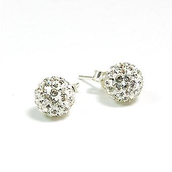 TOC Girls Sterling Silver Clear Crystal Disco Ball Stud Earrings 7mm