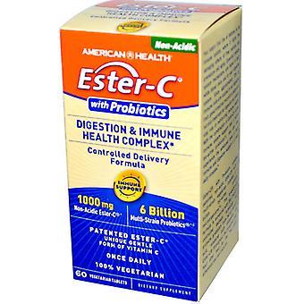 Ester-C mødte probiotica, spijsvertering & immuun gezondheid kompleks (60 Veggie Tabs) - American Health