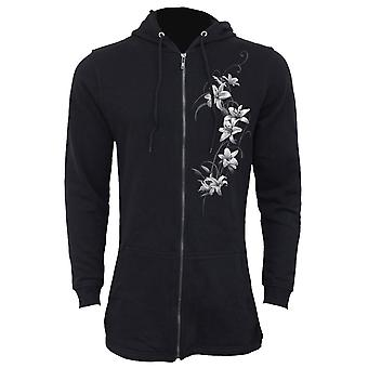Spiral Direct Gothic PURE OF HEART - Ladies Fish Tail Full Zip Hoody - Zip Sleeve|Fashion|Heart|Roses|Oriental
