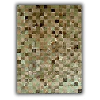 Rugs -Patchwork Leather Cubed Cowhide - Green Multi Tones