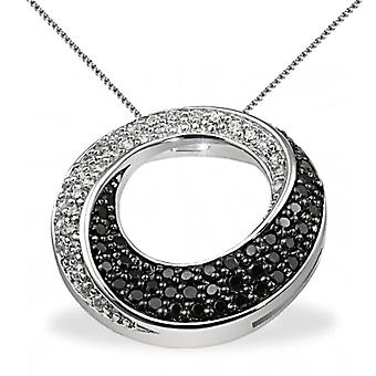 Goldmaid Silver Woman Necklace Oxidized Round Cubic Zirconia 7 millimeters