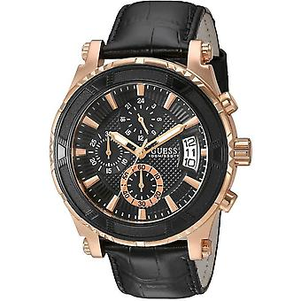 Guess W0673G5 Black and Rose Gold-Tone Chronograph Sport Men's Watch
