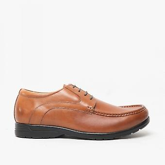 Roamers Grant Mens Couro Extra Wide Lace Up Apron Shoes Tan