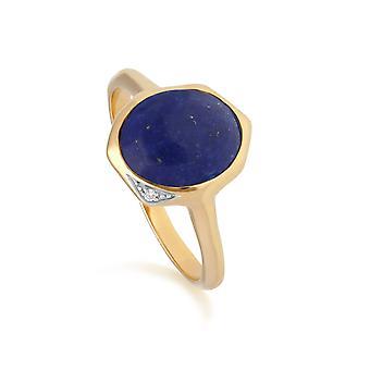 Irregular B Gem Lapis Lazuli & Diamond Ring in Gold Plated Sterling Silver  270R057503925