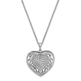 925 Sterling Zilver Gepolijste Gift Boxed Spring Ring Rhodium verguld CZ Kubieke Zirconia Gesimuleerde Diamant aan mijn GrandDaught
