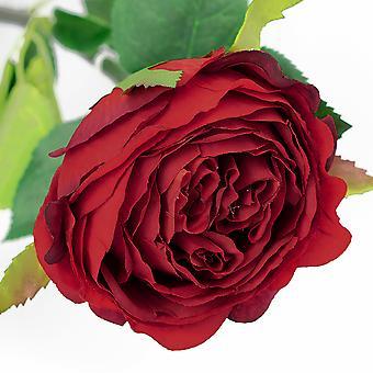 74cm Luxury Artificial Red Rose Bud - Silk Style Fabric Flowers - Floristry & Weddings