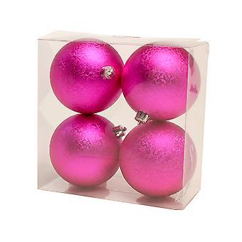 4 Hot Pink 10cm strukturierte Shatterproof Weihnachtsbaum Bauble Dekorationen