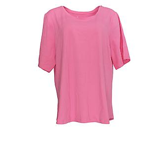Denim & Co. Women's Plus Top Essentials Elbow Sleeve Pink A302899