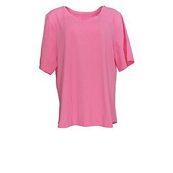 Denim & Co. Frauen's Plus Top Essentials Ellenbogen Ärmel rosa A302899