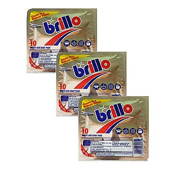 3 x 10pcs Brillo Pads Multi Use Dishes Bathroom Hob Grill  Soap Cleaner