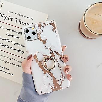 Mobile case for iPhone 11 Pro Max in luxurious marble pattern + ring