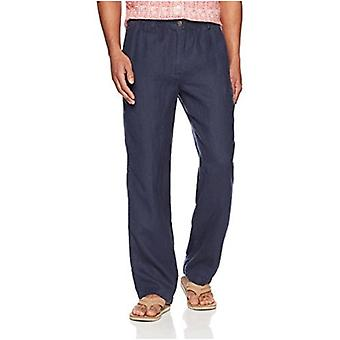 28 Palms Men's Relaxed-Fit Linen Pant with Drawstring, Blue Night, Small/32