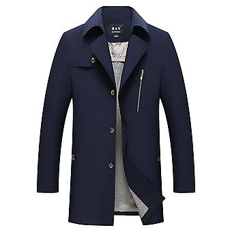 Mannen's Casual Trench Coat Single Breasted Classic Overcoat Business Jacket