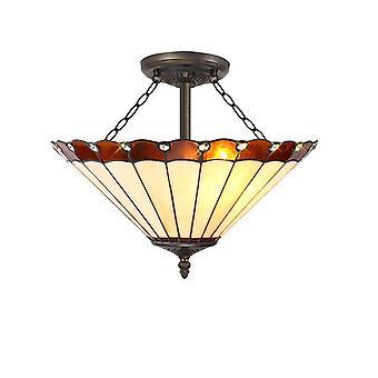 Luminosa Belysning - 3 Lys Semi Flush Loft E27 Med 40cm Tiffany Shade, Amber, Crystal, Aged Antik Messing