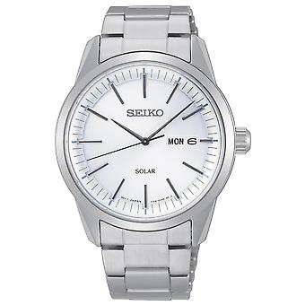 Seiko Conceptual Solar White Dial Silver Stainless Steel Bracelet Men's Watch SNE523P1