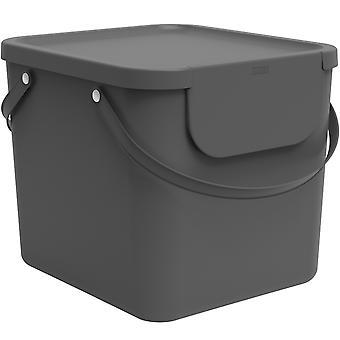 Système de tri des déchets Rotho Albula 40l pour la cuisine, plastique (PP) sans BPA, anthracite, 40l (39,8 x 35,8 x 33,9 cm)