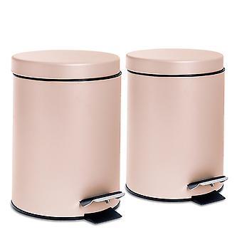 2 Stück 3 Liter Badezimmer Pedal behälter mit Inneneimer - Matt Pink