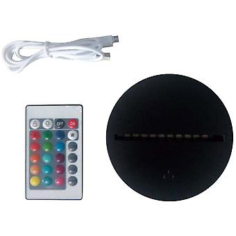 Led Lamp Bases For 3d Illusion Night Light, 7 Colors Touch Switch Remote