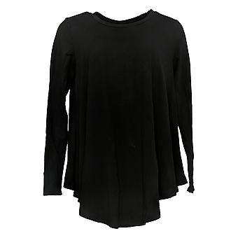 Chiunque Women's Top Cozy Knit Long Sleeve Swing Style Black A293070