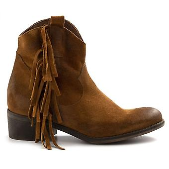Zoe Valencia Leather Suede Ankle Boots With Fringes
