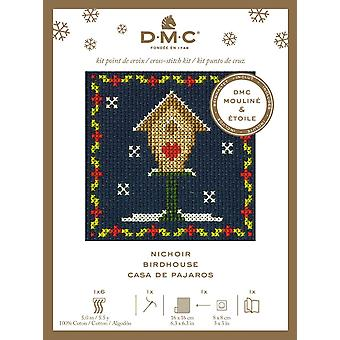 DMC festlig jul mini talt korssting kit - birdhouse