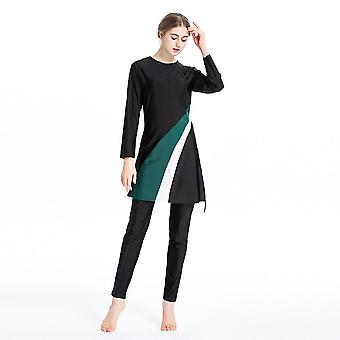 Women Islamic Burkini Long Sleeve Muslimah Bathing Suit Patchwork Color Muslim
