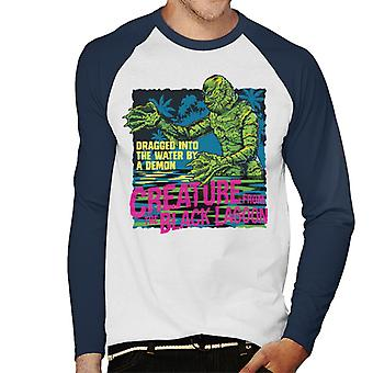 The Creature From The Black Lagoon Dragged Demon Men's Baseball Long Sleeved T-Shirt