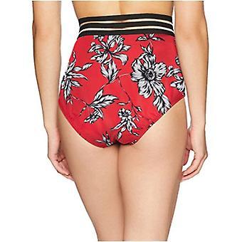 Brand - Coastal Blue Women's Swimwear High Waist Bikini Bottom, Red Floral, M