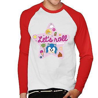Sonic The Hedgehog Vaaleanpunainen Tähti Lets Roll Men's Baseball Pitkähihainen T-paita