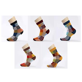 Cotton Compression Socks - Colorful Square And Strip Printed