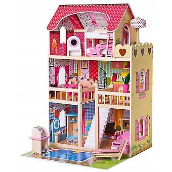 Maison de poupée en bois avec piscine + LED
