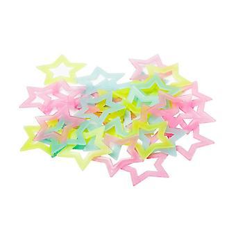 40 PCS fluoreszierende Kunststoff Sterne leuchtende Aufkleber Wand Decke Dekoration