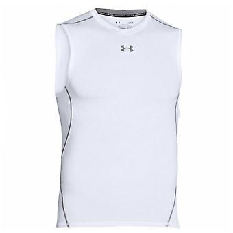 Under Armour Heatgear Compression Tank Top Gym Running Vest White 1257469 100