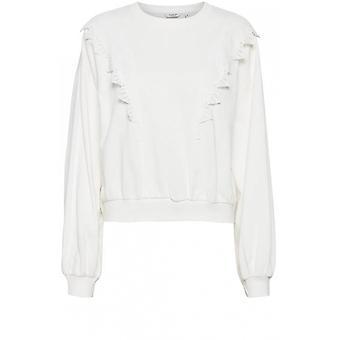 b.young Tatara White Frill Sweatshirt