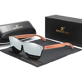 كينجسيفن نظارات شمسية فاخرة مع إطار خشبي - UV400 ومرشح الاستقطاب للنساء - فضة