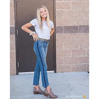 סקיני ג'ינס עם עלייה גבוהה ופסים צדדיים