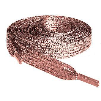 Lacets à paillettes plates métalliques en or rose