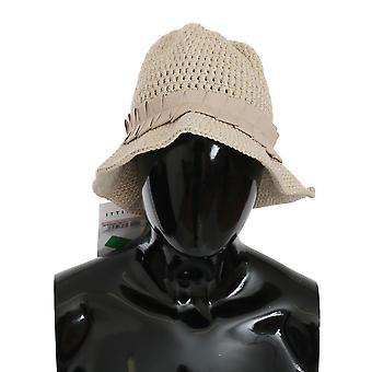 Beige algodón tejido bucket gorra mujeres sombrero