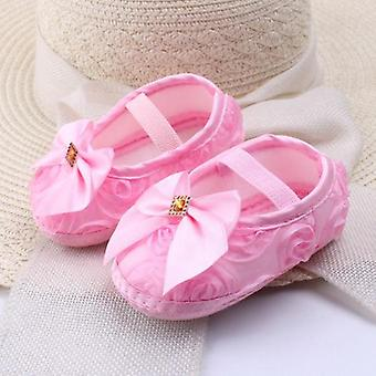Cloth Rose Toddler Soft Soled Non-slip Infant Baby Bow Knot Crib Shoes