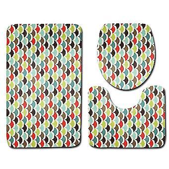 3PC Tapis de toilette Motifs géométriques 45x75cm