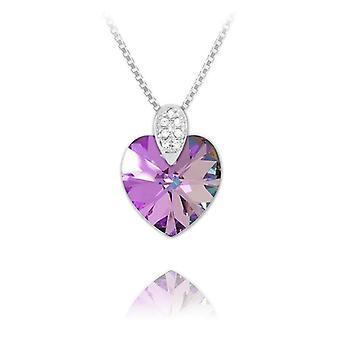 Silver vitrail light swarovski crystal heart necklace