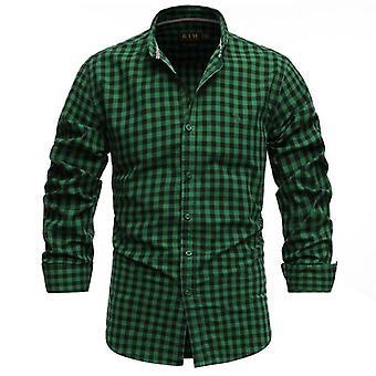 Camisa a cuadros de algodón, negocios delgados para hombres, casual, caza superior, senderismo