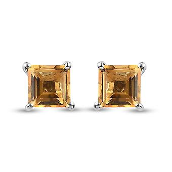 TJC Citrine Solitaire Stud Earrings Platinum Plated Silver Birthday Gift 1.7ct