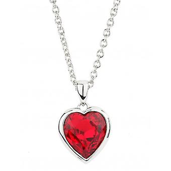 Traveller Heart Pendant With Chain Rhodium Plated With Crystals From Swarovski - 38 Bis 44 Cm - 157260 - 584