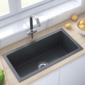vidaXL Handmade built-in sink with sieve black stainless steel