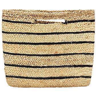 vidaXL tote bag nature with black stripes handmade jute