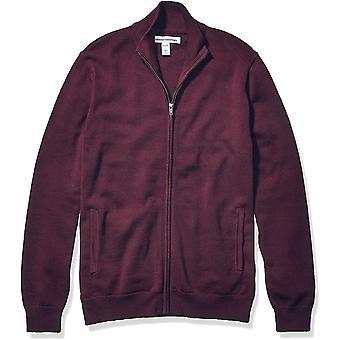 Essentials Men's Cotton Full-Zip Sweater, Burgundy, X-Large