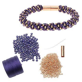 Wkład -Deluxe Spirala Koralikami Kumihimo Bransoletka-Purple & Rose Gold-Exclusive Beadaholique Biżuteria Kit