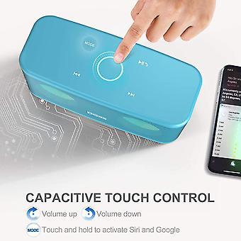 Doss Bluetooth reproduktor, bezdrôtový reproduktor, dotykové ovládanie, HD zvuk a výkonné basy, hands-free, 20 hodín prehrávania, reproduktory pre telefón, tablet a TV (svetlomodrá)