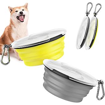 Faltbar Hundenapf, 2 Stück Hund Reisenäpfe Tragbar Silikon Auslaufsicher Trinknapf Fressnapf mit
